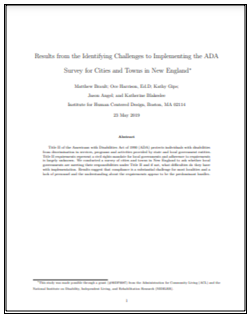 Report cover with the title Results from the Identifying Challenges to implementing the ADA Survey for Municipalities in New England