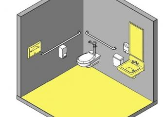 Toilet room with grey walls and yellow floor in a 3D perspective