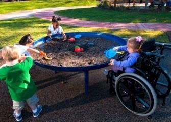 Image of children playing at a sand table one girl uses a wheelchair